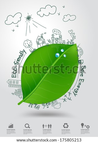 Ecology concept, Creative drawing on green leaf with water drops environment with happy family stories concept idea, Vector illustration modern design template - stock vector