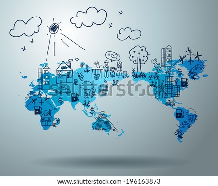 Ecology concept, Creative drawing on world map environment with happy family stories concept idea, Vector illustration modern design template  - stock vector