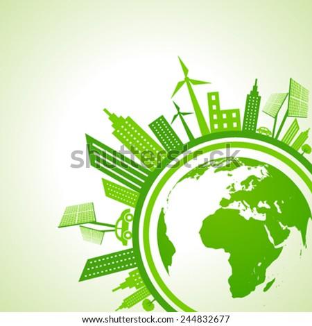 Ecology Concept - eco cityscape with earth stock vector - stock vector