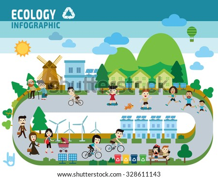 ecology concept.flat design illustration - stock vector