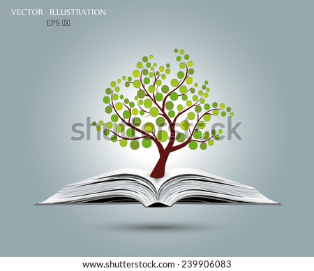 Ecology concept, Green paper tree growing from an open book, Vector illustration modern design template - stock vector