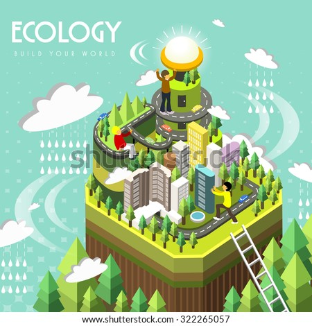 ecology concept in 3d isometric flat design  - stock vector