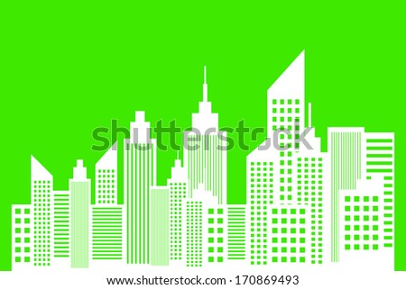 Ecology Concept Of Modern Metropolis City Skyscrapers Skyline - stock vector