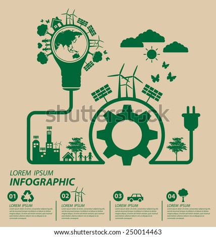Ecology concept. save world vector illustration. - stock vector