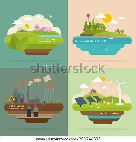 Ecology Concept Vector Icons Set for Environment, Green Energy and Nature Pollution Designs. Flat Style. Renewable Energy, Natural Farm Products, Fresh Air and Drinking Water. - stock vector
