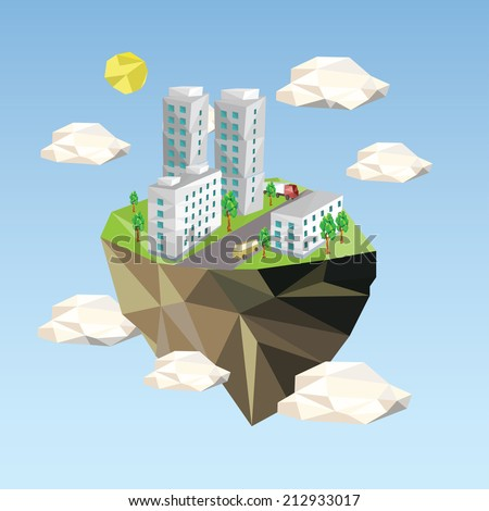 Ecology Concept Vector Illustration in polygon style. City Environment. - stock vector