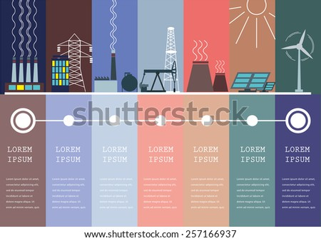 Ecology Concept Vector Info-graphic for Environment, Green Energy and Nature Pollution.  - stock vector