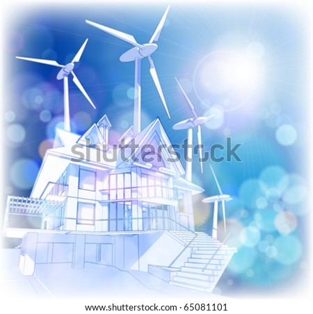 Ecology concept: wind-driven generators & house with solar power systems - stock vector
