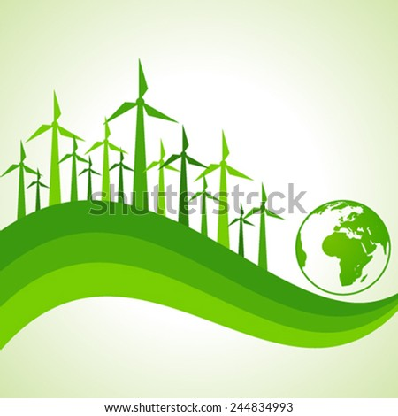 Ecology Concept - wind mill with earth stock vector - stock vector