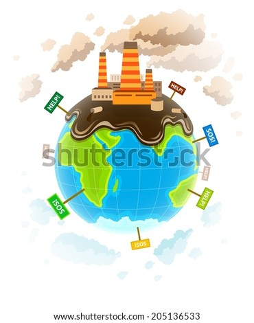 Ecology concept with dirty planet ecocatastrophe. Eps10 vector illustration. Isolated on white background - stock vector