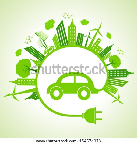 Ecology concept with eco car vector illustration - stock vector