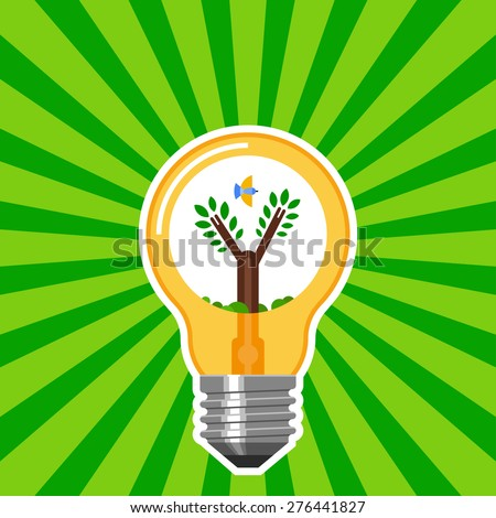 Ecology concept with light bulb with green rays. Eco energy abstract flat vector illustration. - stock vector
