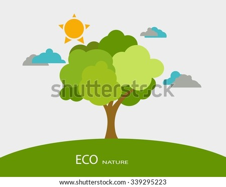 Ecology concept with tree background. - stock vector