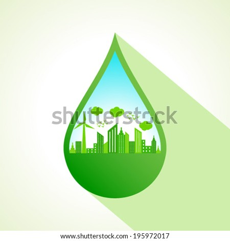Ecology concept with water drop- vector illustration  - stock vector