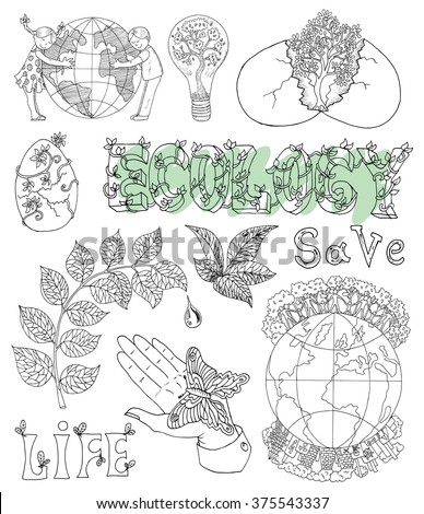 Ecology doodle set with leaves, text, hand with butterfly, tree in egg and eco symbols. Hand drawn line art bio symbols and illustrations, green world concept, environment protection theme - stock vector