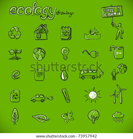 ecology drawings / symbols - stock vector