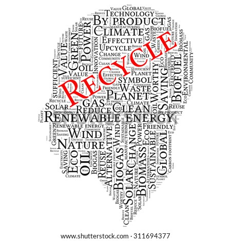 Ecology Earth concept word collage. art head - stock vector