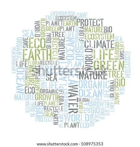 Ecology Earth concept word collage. Environmental poster design tempolate. Vector illustration, EPS8. - stock vector