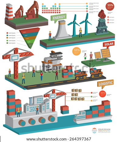 Ecology,Energy,Industrial and construction on white background,clean vector - stock vector