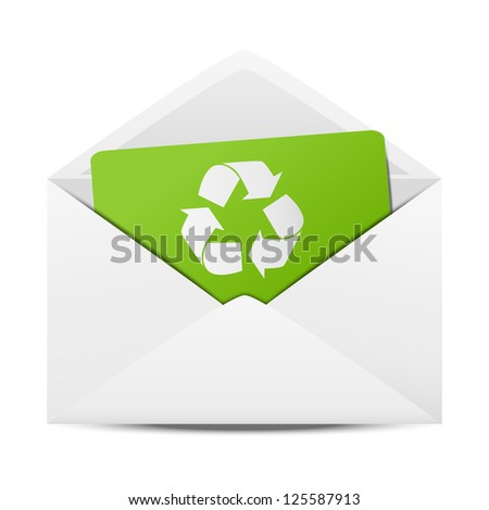 Ecology envelope with symbol of recycling - stock vector