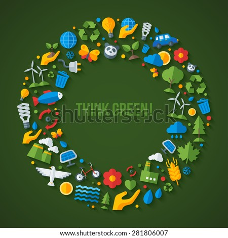 Ecology flat icons arranged in circle frame. Vector illustration. Hand with sprout, hand with water drop. Solar energy sign, wind energy sign, wild animals. Save the planet concept. - stock vector