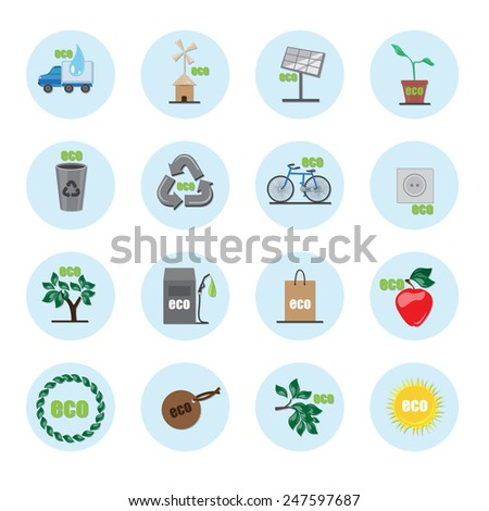 Ecology Flat Icons Set - Isolated On Blue Background - Vector Illustration, Graphic Design Editable For Your Design   - stock vector