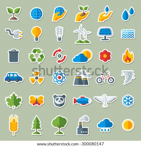 Ecology Flat Icons Stickers Set. Vector illustration. Hand with Sprout, Hand with Water Drop. Solar Energy Sign, Wind Energy Sign, Wild Animals. Save the Planet. - stock vector