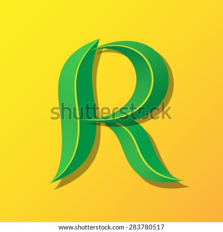 Ecology font from leaves, letter R. - stock vector