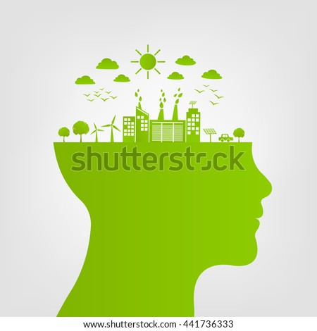 Ecology friendly concept, Think green with green city save the world, vector illustration - stock vector