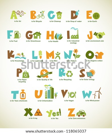 Ecology green alphabet with collection of vector design elements and symbols viewfinderchallenge3 - stock vector