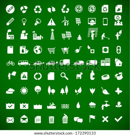 ecology & green energy icons set 81 - sustainable development concept - stock vector