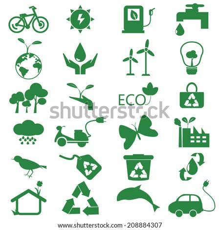 ecology green icon  - stock vector