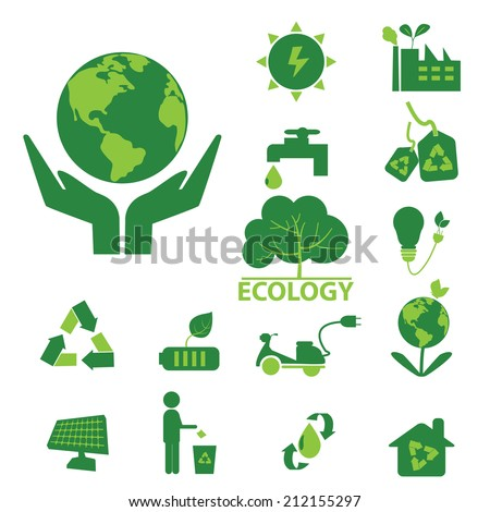 ecology green icon set  - stock vector