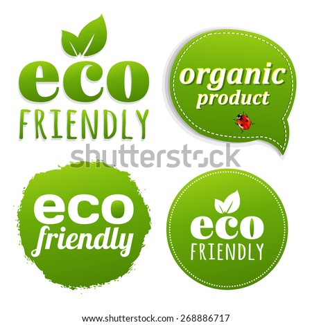 Ecology Green Labels With Gradient Mesh, Vector Illustration - stock vector
