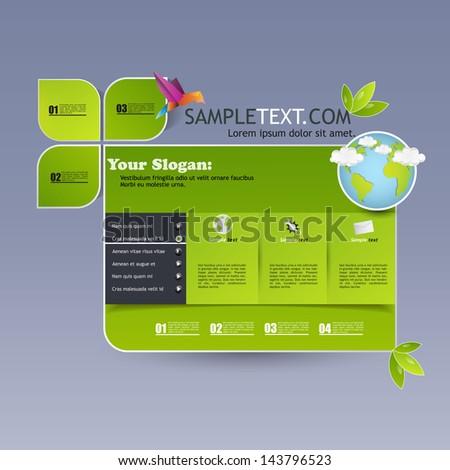 Ecology / green tech. 2013 modern website template  - stock vector