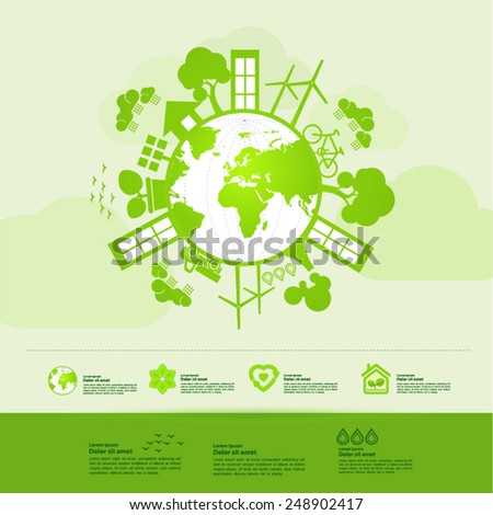 Ecology green world green planet - stock vector