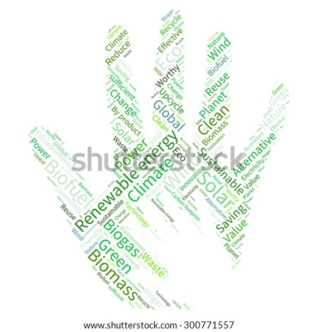 Ecology hand concept word collage.  - stock vector