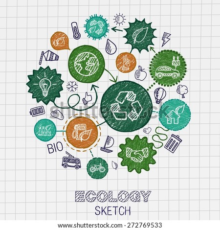 Ecology hand drawing integrated icons. Vector doodle connected pictogram set: sketch interaction illustration on paper: eco friendly, energy, environment, green, recycle, bio and global concepts - stock vector