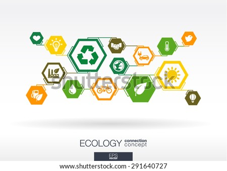 Ecology. Hexagon abstract background with lines, polygons, and integrate flat icons: eco friendly, energy, environment, green, recycle, bio and global concepts. Vector interactive illustration. - stock vector