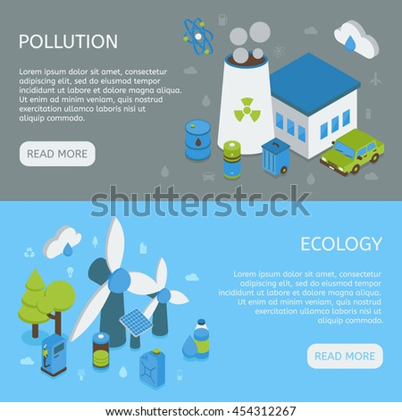 Ecology horizontal isometric banners with environmental pollution green energy on grey and blue backgrounds isolated vector illustration  - stock vector