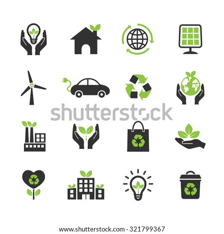 Ecology icon. Ecological icons. Vector Illustration. EPS10 - stock vector