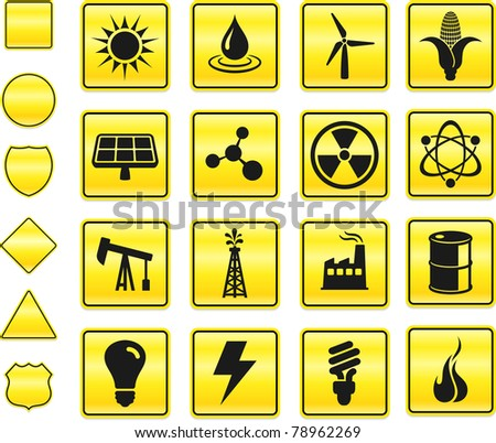 Ecology Icon on Yellow Sign Button Collection Original Illustration - stock vector