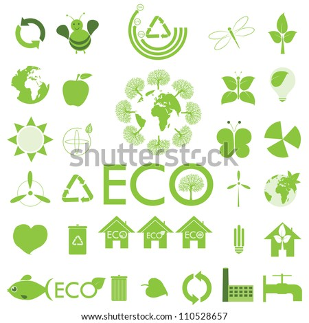 Ecology icon set. Eco-icons. - stock vector
