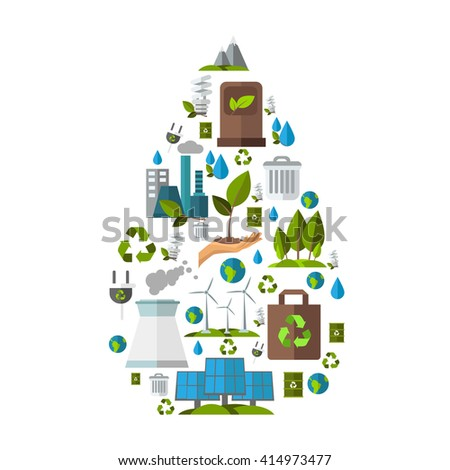 Ecology icon set in drop shape with images of tools for energy nuclear power station windmills vector illustration - stock vector