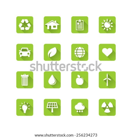 Ecology icon set - long flat shadow eco icon set  - stock vector