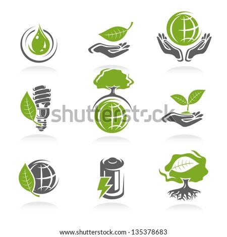 ecology icon set. Vector - stock vector