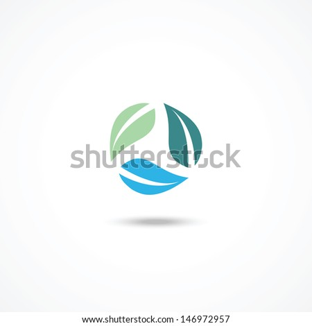 Ecology icon with leafs - stock vector