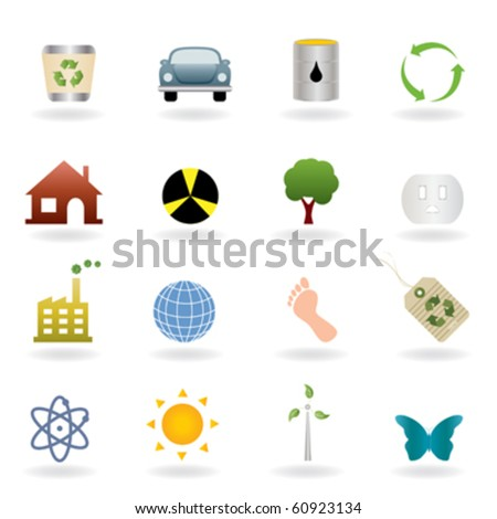 Ecology icons and symbols set - stock vector