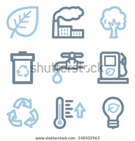 Ecology icons, blue line contour series - stock vector