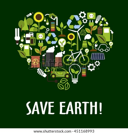 Ecology icons in heart shape with green energy, bio fuel and cars, recycling and light bulbs with leaves, trees, flowers, solar panels, wind turbine, bicycle, industrial pollution, radioactive waste - stock vector